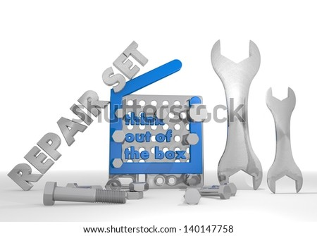 Medium blue  mechanical set 3d graphic with mechanical think out of the box symbol repair set