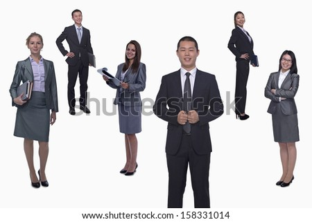 Medium group of smiling business people - stock photo