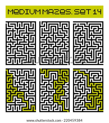 medium mazes set 14 - stock photo