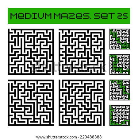medium mazes set 25 - stock photo