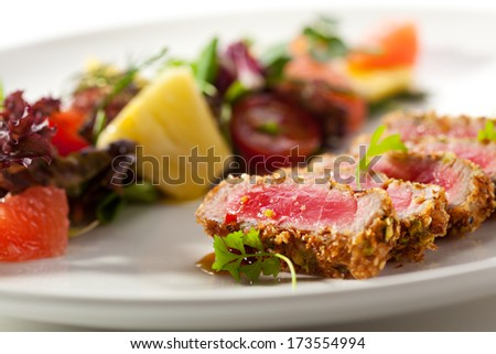 Medium Rare Tuna with Fruit Salad
