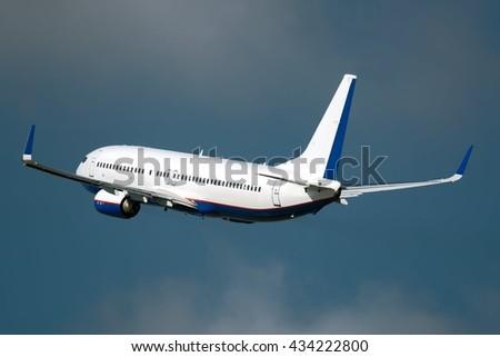 medium size, single aisle, most popular, twin engine passenger aircraft take off - stock photo