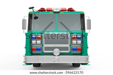 Medium Spring Green Cyan Firetruck front view isolated on a white background. 3D Rendering, 3D Illustration