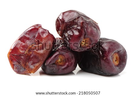 medjool dates on white background