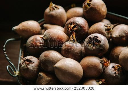 Medlar in autumn  - stock photo