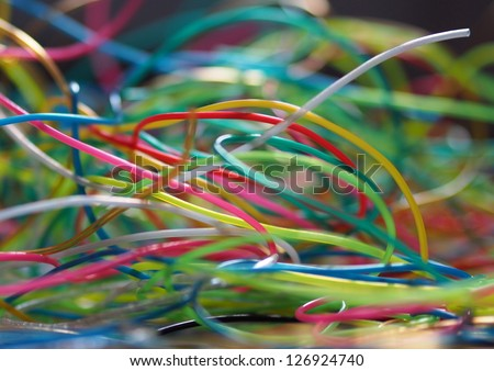 Medley of colorful  plastic strains - stock photo