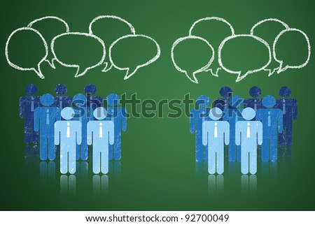 Meet to negotiate terms of business in a competitive society. - stock photo