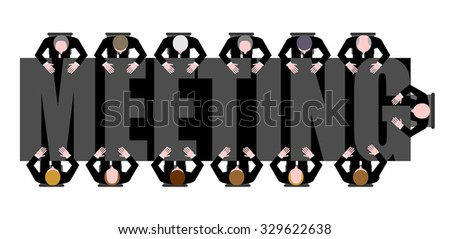 Meeting a long table. People work in Office. Boss, Chief commands. illustration of Office life.  - stock photo