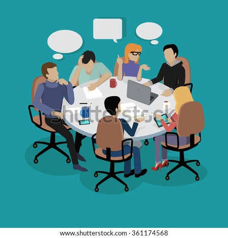 Meeting and discussion briefing. Business meeting, conference and meeting room, business presentation, office teamwork, team corporate, workplace discussing illustration. Raster version - stock photo