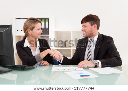 Meeting attended by both parties for joint business venture. - stock photo