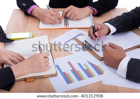 Meeting business meeting on a white background. - stock photo
