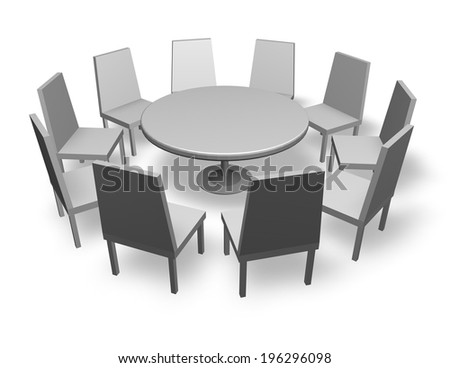 meeting concept illustration with chairs and round table isolated on white background