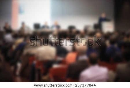 Meeting conference generic background. Intentionally blurred editing post production. - stock photo