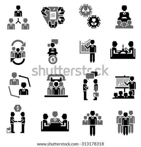 Meeting icon black set with job partnership corporate training elements isolated  illustration