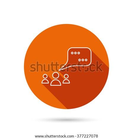 Meeting icon. Chat speech bubbles sign. Speak balloon symbol. Round orange web button with shadow. - stock photo