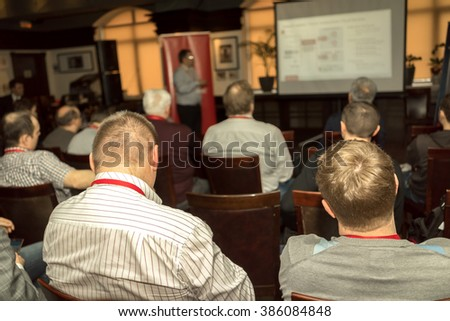 Meeting in a conference hall. - stock photo