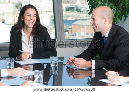 meeting in board room - stock photo