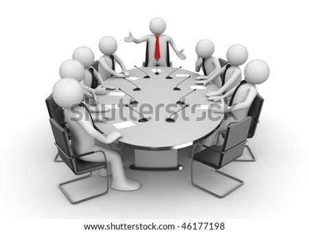 Meeting in conference room (3d isolated characters, businessmen, business concepts series) - stock photo