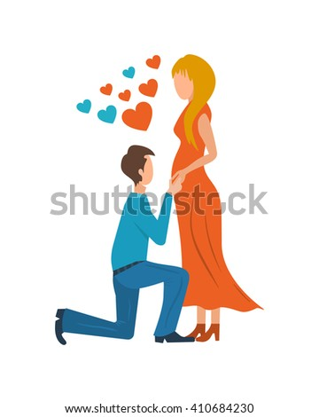 Meeting love couple. Valentine Day postcard. Valentine's day greeting letter. Valentines Day gift card. Invitation card for wedding.  - stock photo