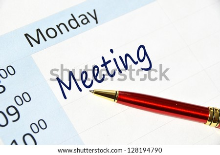 Meeting note in the agenda - stock photo