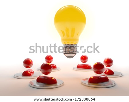 meeting of human characters and a light bulb glowing - stock photo