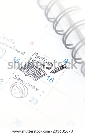 meeting on time planner - stock photo