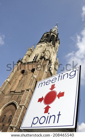 Meeting point in front of the New Church in Delft - stock photo