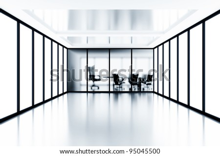 meeting room and glass windows in modern office building - stock photo