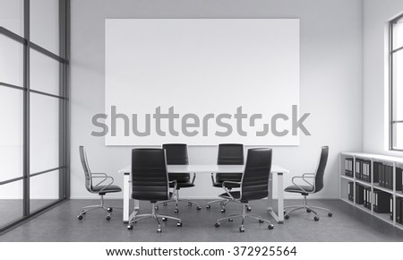 meeting room for six, chairs arranged around the table, a blank white poster above the table, window to the right, shelves under it. Concept of negotiations. 3D rendering. - stock photo
