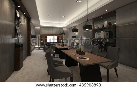 Meeting room table chair 3D interior render illustration