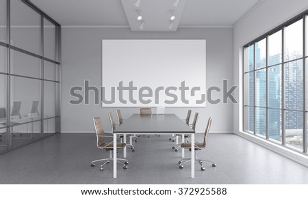 meeting room with a table in the center, a laptop on it, seven brown chairs around it. A blank frame on the white wall. Window to the right. Front view. Concept of negotiations. 3D rendering - stock photo