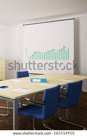 Meeting room with blue chairs and flip chart in background