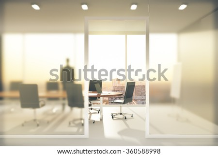 Meeting room with frosted glass walls 3D Render - stock photo