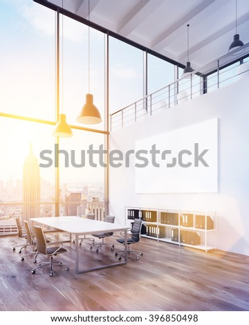 Meeting room with panoramic window and big white poster. New York view. Toned, filter. Concept of meeting. Mock up. 3D rendering - stock photo