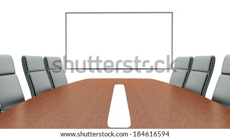meeting room with projection screen and conference table  - stock photo