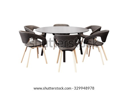 meeting round table and black office chairs for conference, isolated on white background - stock photo