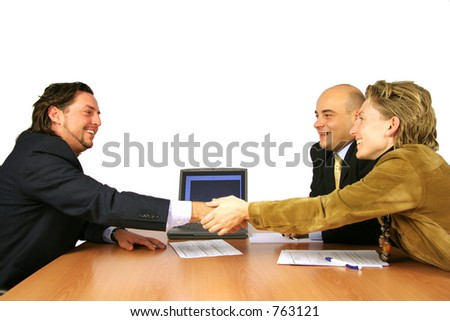 Meeting success hand shake isolated - stock photo
