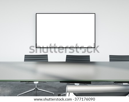Meeting table at office in front of a TV screen. 3d rendering