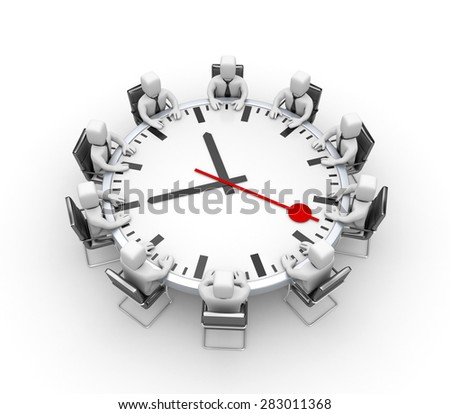 Meeting. Table in the form of clock - stock photo