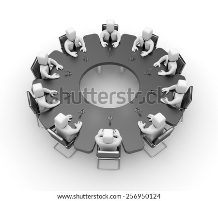 Meeting. Table in the form of gear - stock photo