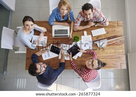 Meeting with colleagues in boardroom - stock photo