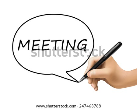 meeting word written by 3d hand over white - stock photo