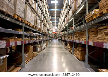 MEGA BANGNA, THAILAND - DECEMBER 06, 2014: Warehouse aisle in an IKEA store. Founded in 1943, IKEA is the world's largest furniture retailer. IKEA operates 351 stores in 43 countries.
