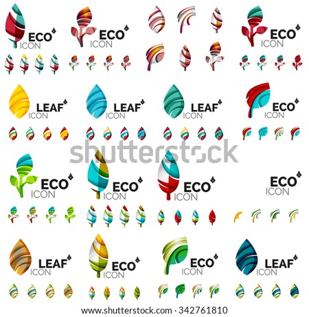 Mega collection of green summer concepts - leaves compositions, plants. Various futuristic colors colors, illustration - stock photo