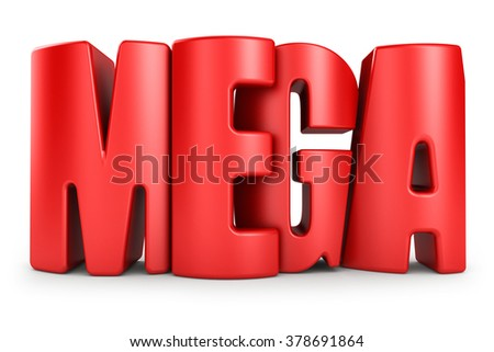 Mega 3d text isolated over white background - stock photo