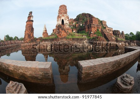 Mega flood in 50 years at Wat Mahatrat temple in Ayuttaya historical park,Middle of Thailand. - stock photo