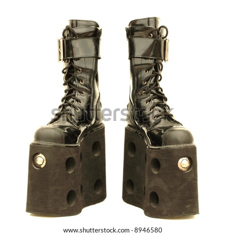 Mega platform boots, isolated - stock photo