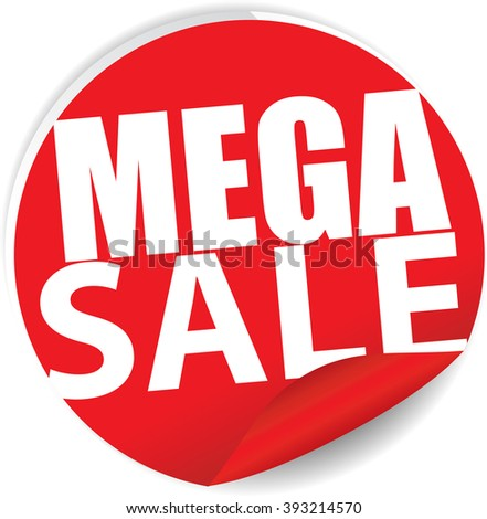 Mega sale red Label, Sign, stickers and symbol. - stock photo