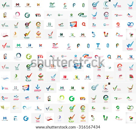 Mega set of geomeric company logos. Corporate business branding design elements