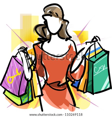 Mega shopping - stock photo
